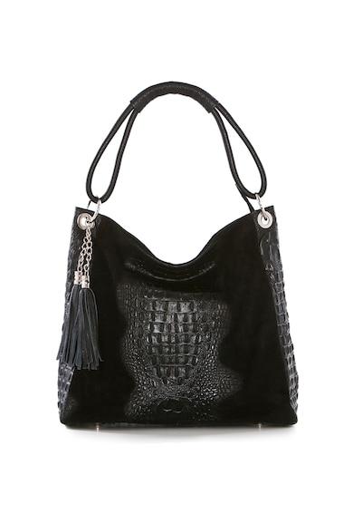 Pia Sassi Bőr tote fazonú táska krokodilbőr mintás részletekkel női