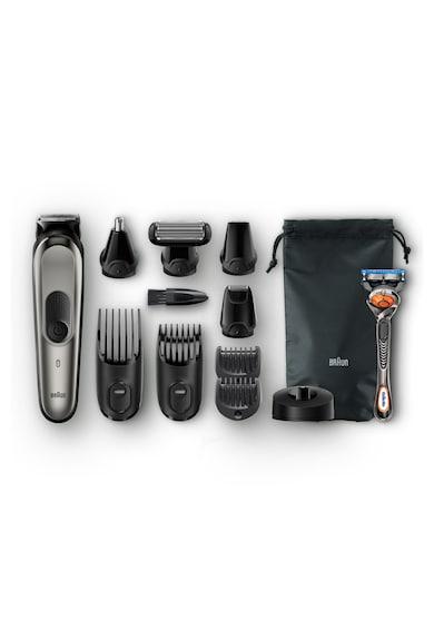 Braun Aparat de ras si tuns  MGK7021, 10-in-1, Tehnologie AutoSensing, 4 piepteni, 4 accesorii, aparat de ras Gillette Flexball, Acumulator, Negru/Gri Barbati