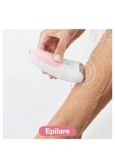 Braun Epilator  Silk-epil Beauty Set 5 5895 Starter Kit 5-in-1, Tehnologie SensoSmart, Cap de ras, Set pentru curatare fata si corp, Alb/Roz Femei