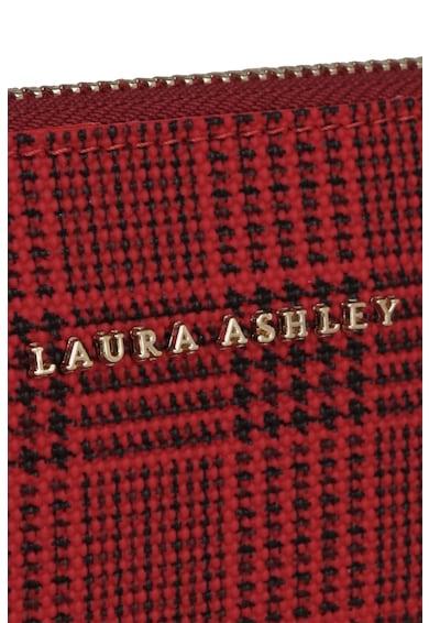 Laura Ashley Etui de piele ecologica cu fermoar, imprimeu tartan si bareta din lant Femei
