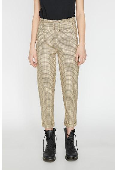 KOTON Pantaloni cu model in carouri si curea in talie Femei