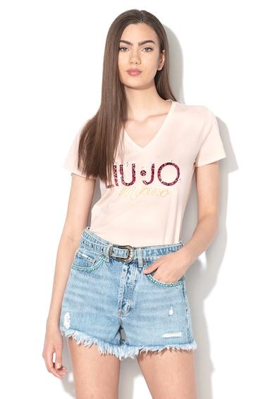 Liu Jo Logómintás póló strasszköves rátétekkel női