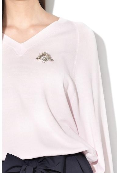 Liu Jo Finomkötött pulóver strasszköves brossal női
