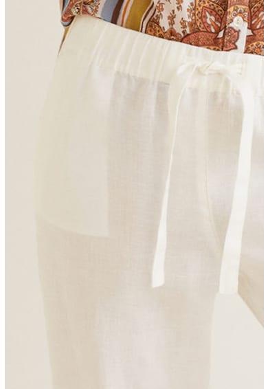 Mango Lenvászon straight fit nadrág megkötővel női