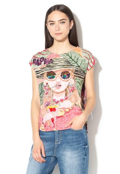 DESIGUAL Cocktel díszített póló flitterekkel női