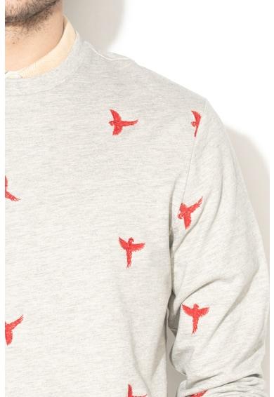 Only & sons Bluza sport cu decolteu la baza gatului si broderie Bird Barbati