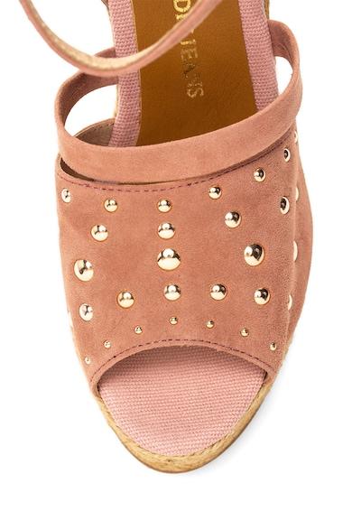 Trussardi Jeans Sandale tip espadrile wedge de piele intoarsa cu tinte Femei