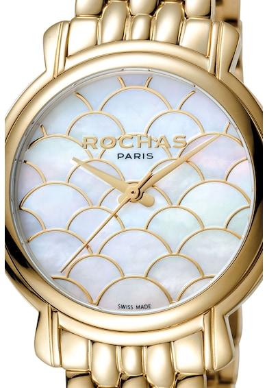 ROCHAS PARIS Ceas cu 3 indicatoare si bratara metalica Femei