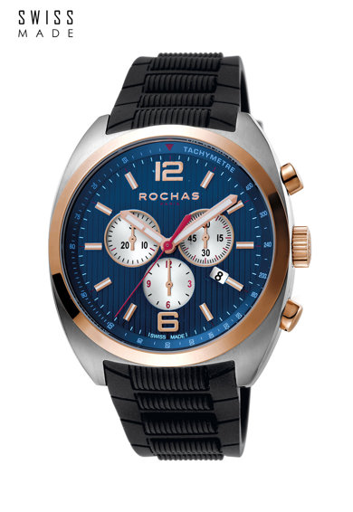 ROCHAS PARIS Ceas cronograf cu o curea de cauciuc Barbati