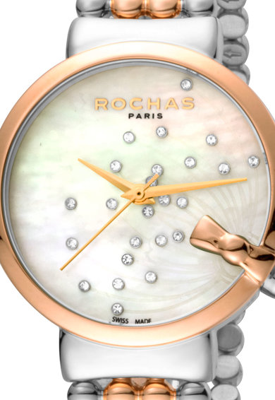 ROCHAS PARIS Ceas rotund cu cadran mother of pearl si diamante Femei