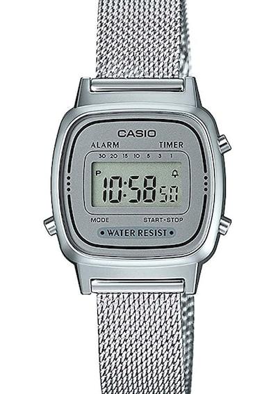 Casio Ceas cronograf cu bratara cu aspect de plasa Femei