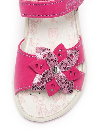 Primigi Sandale de piele nabuc, cu velcro si aplicatie florala Fete