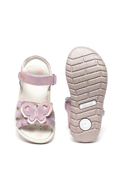 Primigi Sandale din material textil si piele intoarsa, cu aspect stralucitor si aplicatii cu fluturi Fete