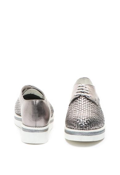 Zee Lane Pantofi brogue de piele, cu talpa wedge si aspect tesut Femei