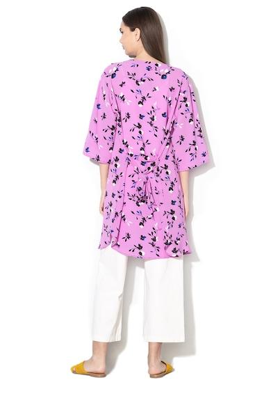 JdY Chimono vaporos cu aspect texturat si imprimeu floral Hero Femei