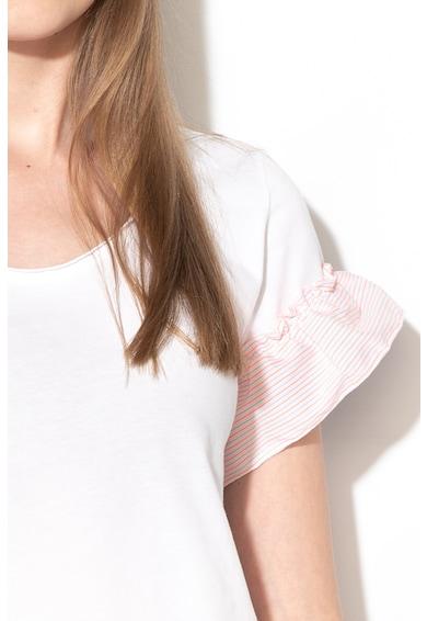 Sisley Tricou cu decolteu rotund si garnituri cu volane Femei