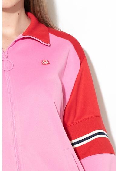 United Colors of Benetton Bluza sport cu fermoar si model colorblock Femei