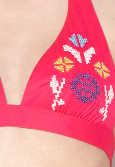Undercolors of Benetton Sutien de baie fara burete, cu cupe triunghiulare si detalii brodate Cancun Femei