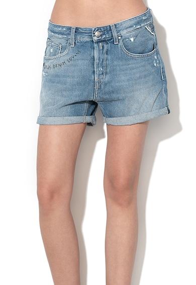 Replay Pantaloni scurti de denim cu imprimeu text Femei