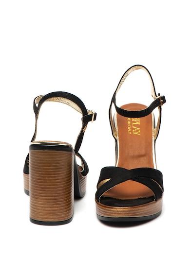 Replay Sandale de piele intoarsa ecologica, cu toc masiv Dessin Femei