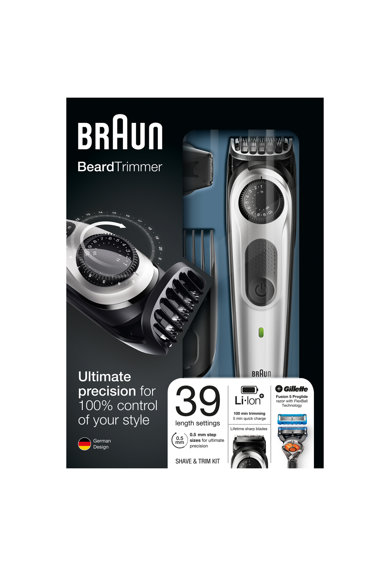 Braun Aparat de tuns barba si parul  BT5060, 39 setari de lungime, 2 piepteni, trimmer pentru precizie, aparat de ras Gillette Flexball, Acumulator, Negru/Argintiu Barbati