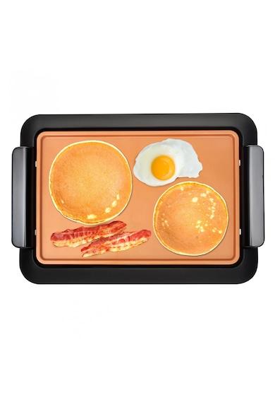 MediaShop Gratar electric  Livingtone Smokeless Grill , Tava scurgere, 4 setari de temperatura, Tehnologie TiCerama, Placa grill, 1000W, Nergu/Portocaliu Femei