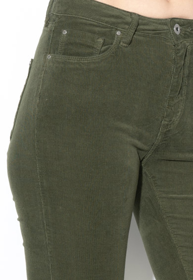 Pepe Jeans London Pantaloni din reiat cu logo pe nasture Regent Femei