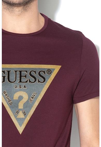 GUESS JEANS Szűk fazonú modáltartalmú póló logóval férfi
