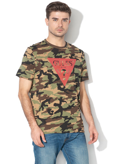 GUESS JEANS Tricou regular fit cu model camuflaj Barbati