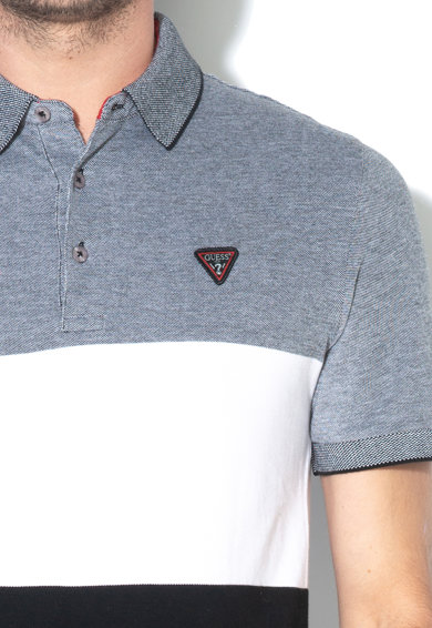 GUESS JEANS Tricou polo slim fit, cu model colorblock Barbati