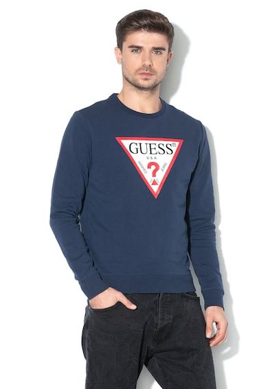 GUESS JEANS Szűk fazonú pulóver logómintával férfi