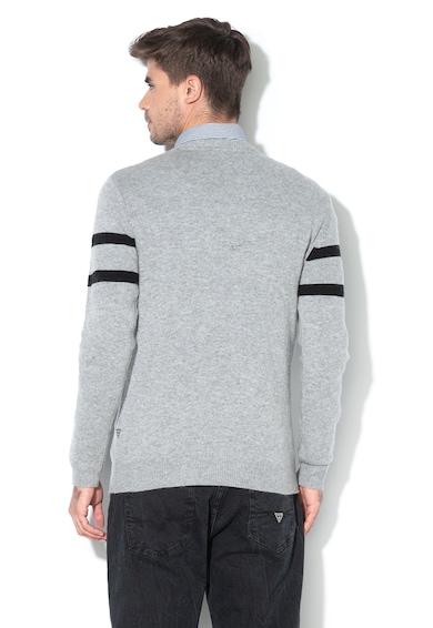 GUESS JEANS Gyapjútartalmú pulóver bársonyos logómintával férfi