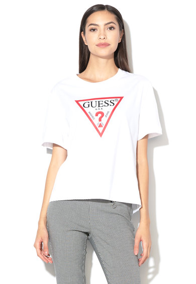 GUESS JEANS Tricou din bumbac organic cu imprimeu logo 05 Femei