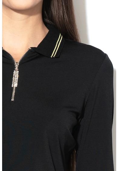 GUESS JEANS Bluza polo din amestec de modal, cu aplicatii cu strasuri Femei