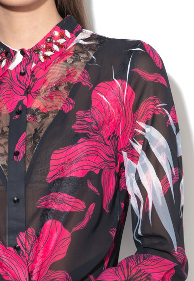 GUESS JEANS Camasa din material vaporos transparent cu guler cu decoratiuni Femei