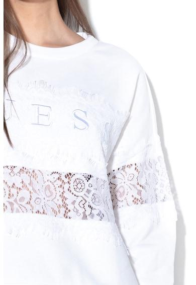 GUESS JEANS Bluza sport cu insertii de dantela si broderie logo Femei