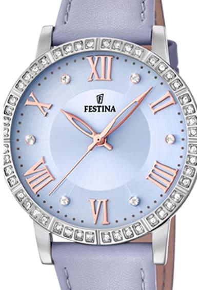 Festina Ceas rotund decorat cu cristale zirconia Femei