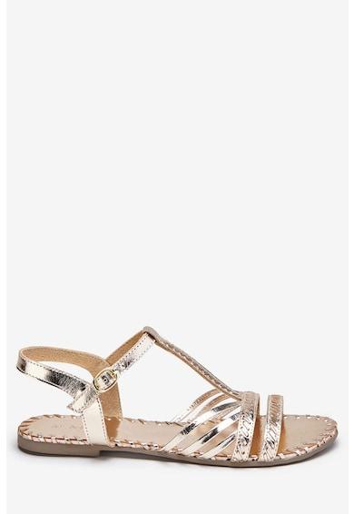 NEXT Sandale de piele, cu barete multiple si aspect metalizat Femei