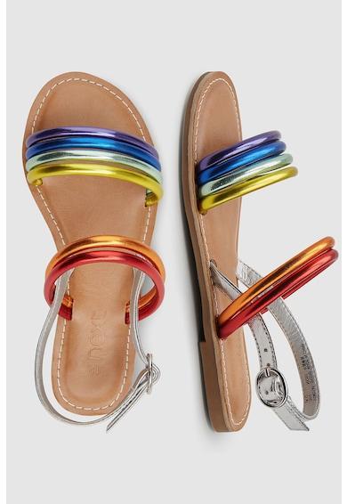 NEXT Sandale de piele ecologica, cu aspect metalizat Fete
