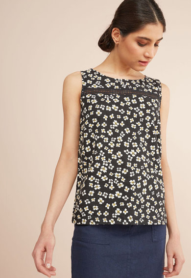 NEXT Bluza din amestec de in, fara maneci, cu imprimeu Femei