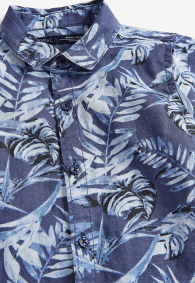 NEXT Camasa din amestec de in, cu imprimeu tropical Baieti