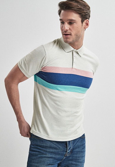 NEXT Regular fit galléros póló colorblock részletekkel férfi