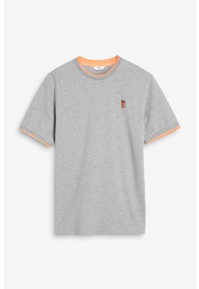 NEXT Tricou cu decolteu la baza gatului, cu aplicatie logo Barbati