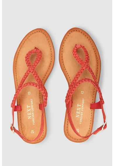 NEXT Sandale de piele cu bareta separatoare si detalii impletite Femei
