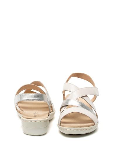 Caprice Sandale de piele, cu barete multiple si aspect metalizat Femei
