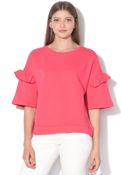 United Colors of Benetton Laza fazonú organikuspamut pulóver fodrokkal női