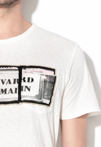 Selected Homme Tricou din bumbac organic, cu buzunar pe piept Macron Barbati