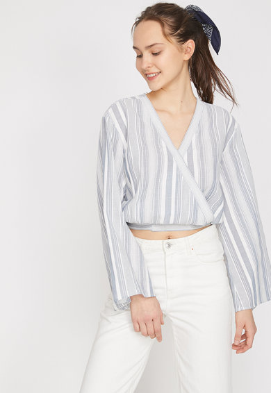 KOTON Къса раирана блуза с разкроени ръкави Жени