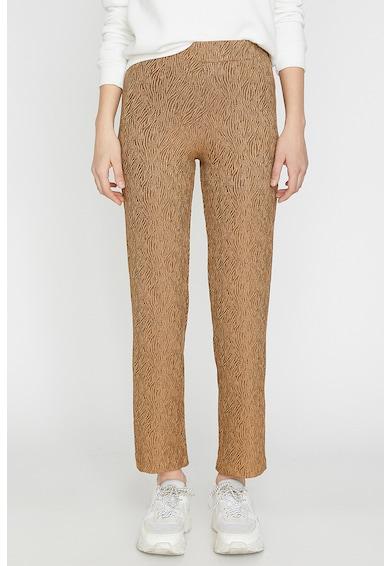 KOTON Pantaloni crop cu imprimeu si croiala dreapta Femei