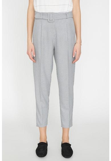 KOTON Pantaloni cu model in carouri si curea Femei